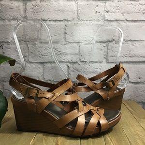 🍃Clarks brown gladiator wedge shoe 10M sandals